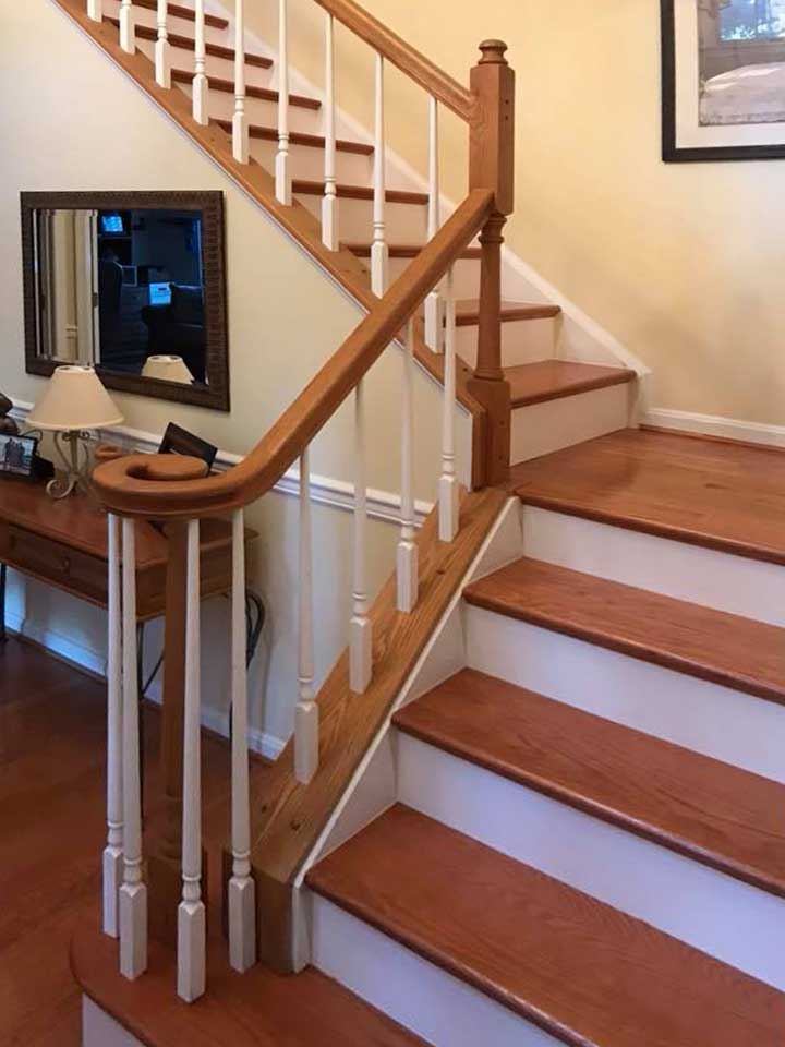 Install Oak wood stair treads and stair risers