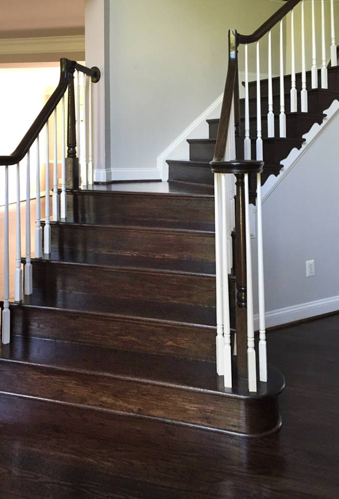 Refinish Oak wood stairs, treads, and stair risers